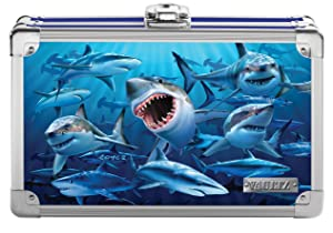"Vaultz Locking Supply Box, 5"" x 2.5"" x 8.5"", Embossed Sharks (VZ03601)"