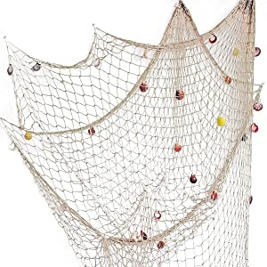 Rosoz Nature Fish Net Wall Decoration with Shells, Ocean Themed Wall Hangings Fishing Net Party Decor for Pirate Party,Wedding,Photographing Decoration