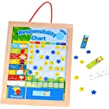 Timy Wooden Rewards Chore Chart Responsibility and Behavior Star Chart Magnetic Board for Kids