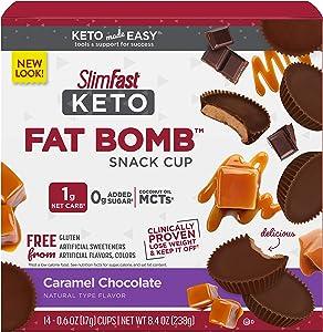 SlimFast Keto Fat Bomb Snacks - Caramel Cup - 14 Count Box - Pantry Friendly