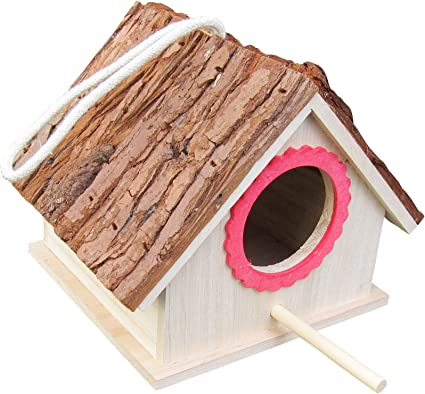 Amazon Com Fitool Tree Bark Roof Bird House For Blue Tit Lark Sparrow Assembled Ready To Use Wild Bird Nesting Box For Wren And Chickadee Species Garden Outdoor
