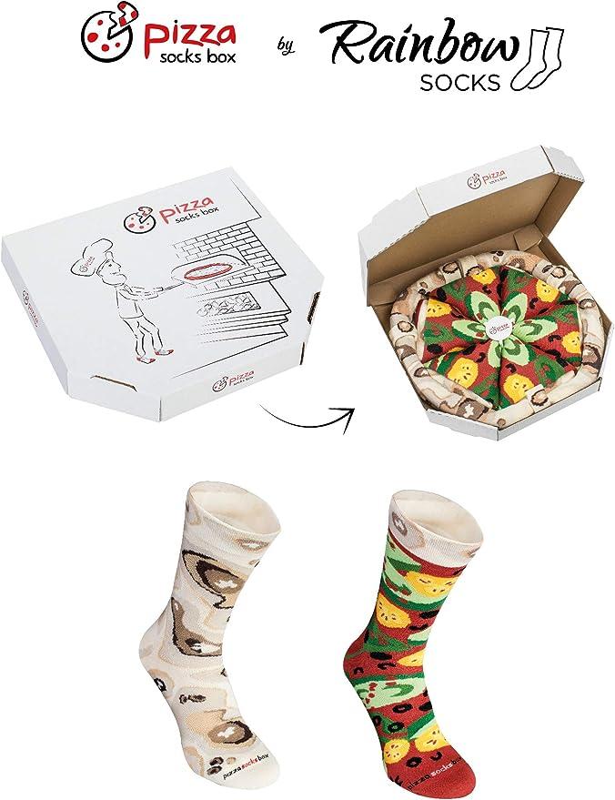 4 paires de et Drôle Nouveauté Chaussettes idéal Fo Pizza Socks Box-Pepperoni Pizza