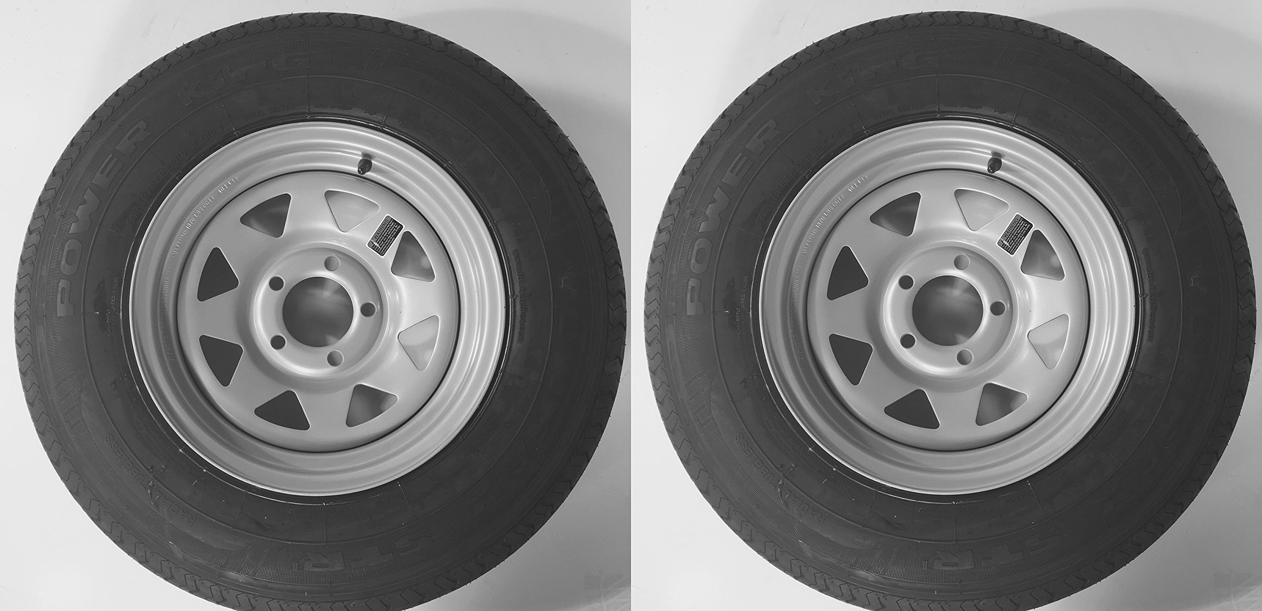 2-Pack Radial Trailer Tire w/Silver Rim ST205/75R14 LRC 5 Lug/4.5'' C Spoke Wheel