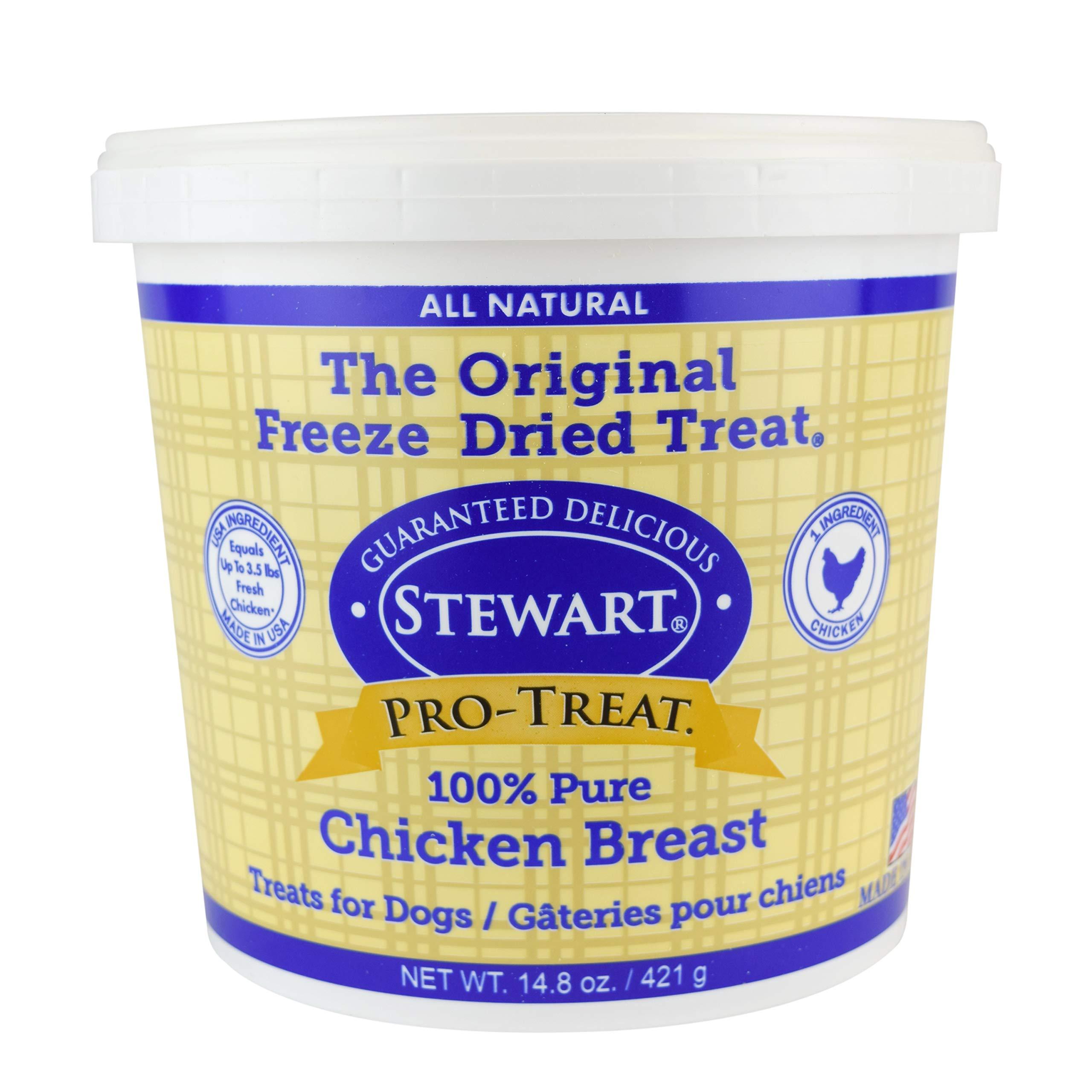 Stewart Pro-Treat, Freeze Dried Chicken Breast Dog Treats, Single Ingredient, Grain Free, USA Made, 14.8 oz. Resealable Tub