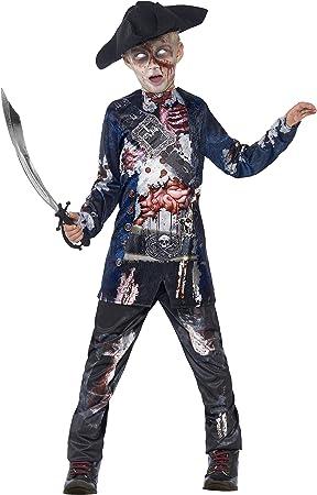 Oferta amazon: Smiffys-44318M Disfraz de Pirata podrido Deluxe, con Parte de Arriba, pantalón y Sombrero, impr, Color Negro, M-Edad 7-9 años (Smiffy'S 44318M)