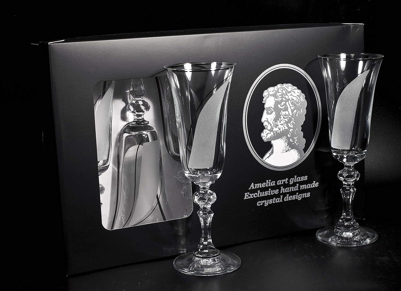 Amelia Art Glass Stripe Maßgeschneiderte Sektglas, 6 Stück