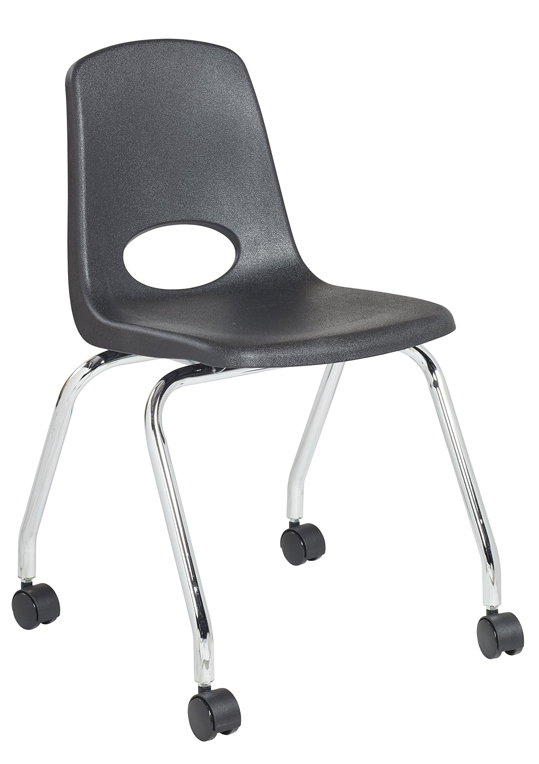 ECR4Kids 18'' Mobile School Chair with Wheels, Classroom Seat for Kid/Teens/Adults, Black (2-Pack)