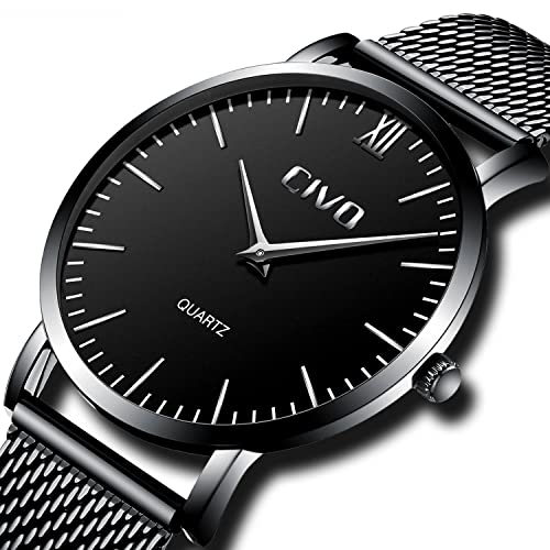 CIVO Mens Watches Black Stainless Steel Mesh Watch Band Waterproof Ultra Slim Wrist Watch Men Luxury Business Dress Casual Simple Analogue Quartz Watches for Men with Mesh Bracelet (Black)