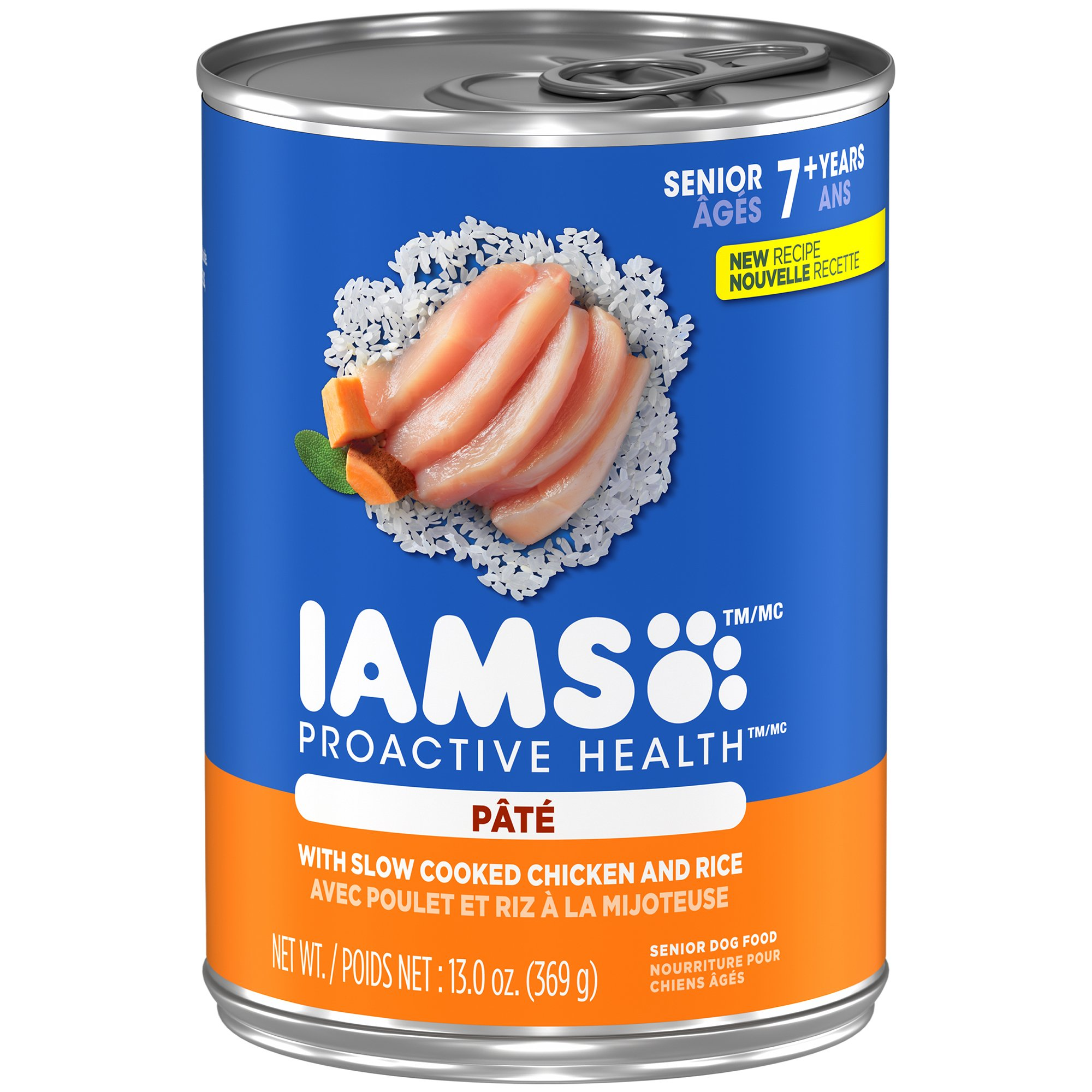IAMS PROACTIVE HEALTH SENIOR With Slow Cooked Chicken and Rice Pate Wet Dog Food 13.0 Ounces (Pack of 12)