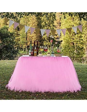 a0d83a09e N&T NIETING Improved Handmade Pink Tutu Tulle Table Skirt Cover Mesh Fluffy Table  Skirt for Girl