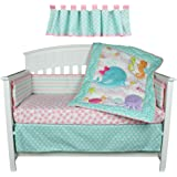 Sea Sweeties Pink and Blue Ocean 5 Piece Baby Girl Crib Bedding with Bumper by Belle