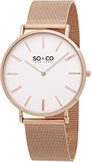 SO&CO New York Mens 5102.4 Madison Quartz 16K Rose Tone Mesh Bracelet Watch