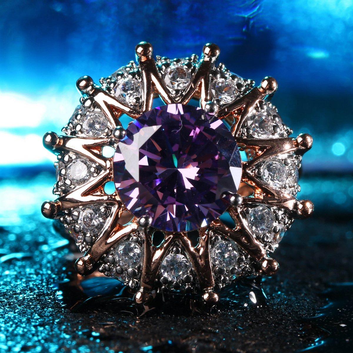 Jiangyue Women Rings Big Purple AAA Cubic Zirconia Rhodium Rose Gold Plated Sun Shaped Party Jewelry Size 5-10