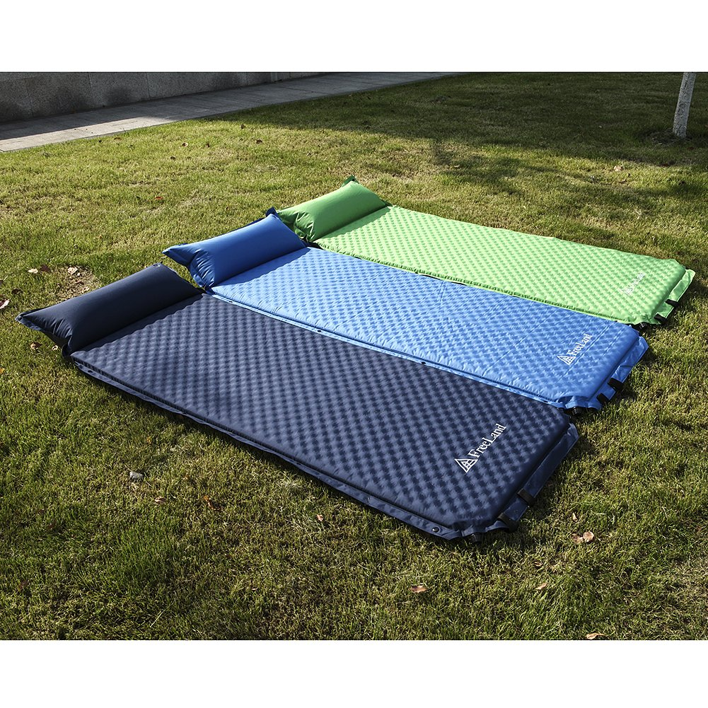 Freeland Camping Sleeping Pad Self Inflating Attached Pillow, Compact, Lightweight, Large