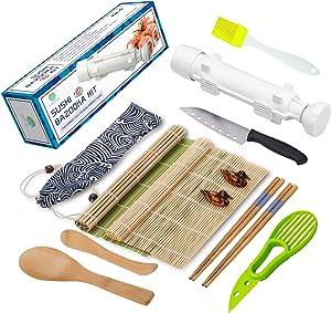Sushi Making Kit - All In One Sushi Bazooka Maker with Bamboo Mats, Bamboo Chopsticks, Avocado Slicer, Paddle, Spreader, Sushi Knife, Chopsticks Holder and Cotton Bag - Gift Box