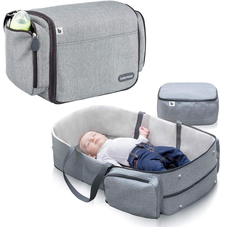 Babymoov Travelnest Comfy Portable Bassinet | 3-in-1 Travel Crib, Changing Station and Diaper Bag, Gray