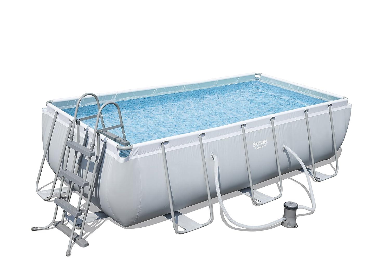 "Bestway Power Steel Rectangular Frame Pool With Pump 159"" x 79"" x 39 1/2"" - BW56441 56441-BGSX16EX03"