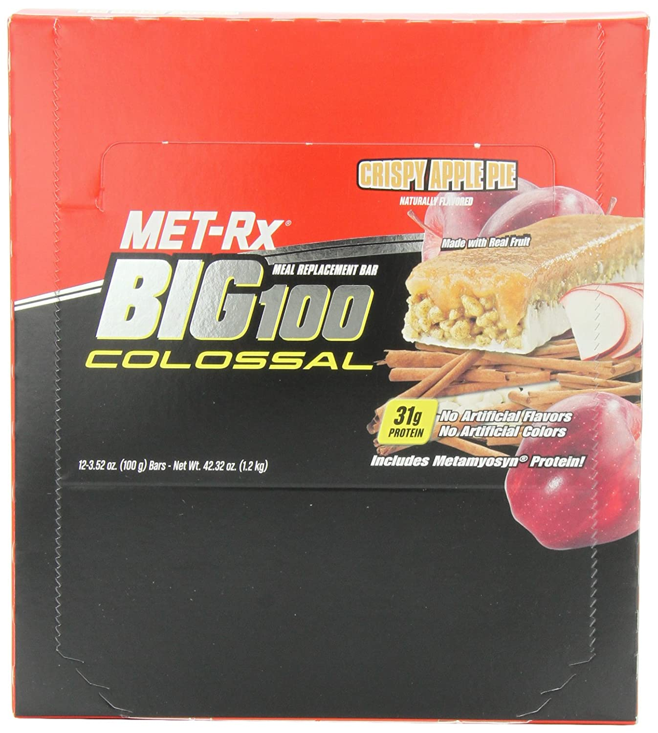 Merveilleux Amazon.com: MET Rx Big 100 Colossal Meal Replacement Bar, Crispy Apple Pie,  12 Bars, 3.52 Ounces: Health U0026 Personal Care