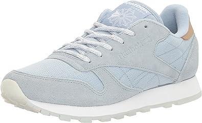 Grey Women/'s Reebok Classic Leather Sea Worn Width: med Fashion Sneakers