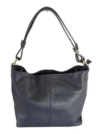 4a3c344eac0 PRIME DAY OFFER - Navy Blue Genuine Italian Leather Medium Bucket Bag,  Handbag or Shoulder