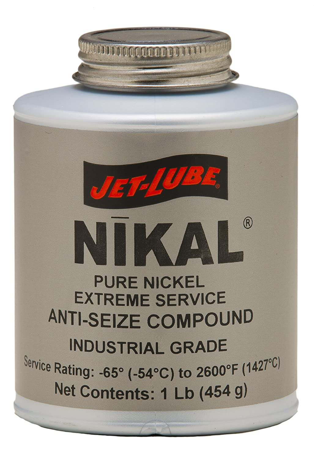 Jet-Lube Pure Nickel Extreme Anti-Seize and Thread Lubricant, 1 lbs Brush Top Can 13604 399-13604