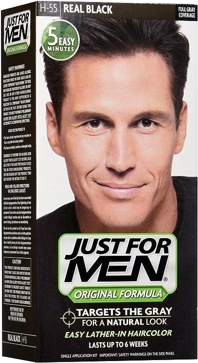 paraJUST FOR MEN Shampoo en #H-55 tinte capilar real negro - (1 Pack)