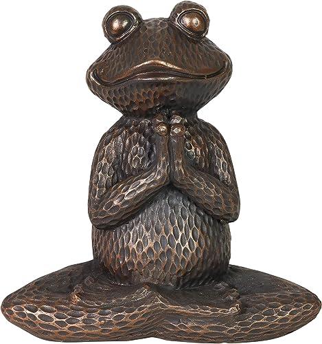 Exhart Meditating Bronze Yoga Frog Garden Statue