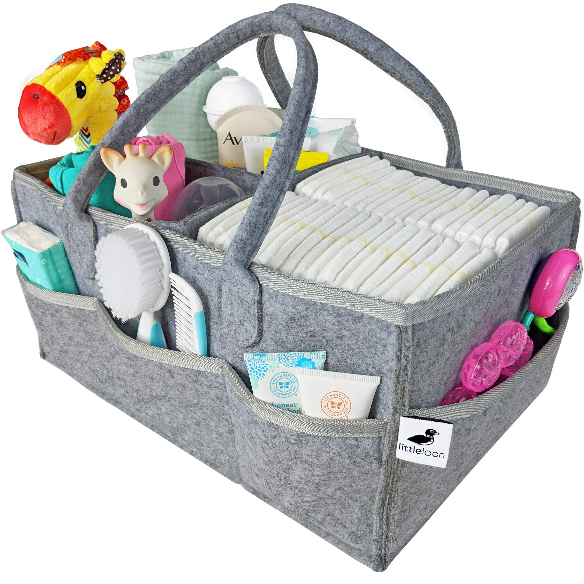 Baby Diaper Caddy Organizer - Nursery Changing Table Storage Basket | Newborn Gift Registry for Baby Shower | Large Portable Gray Felt Bin Holder for Diapers, Wipes, Toys, Car Travel Tote, Registries
