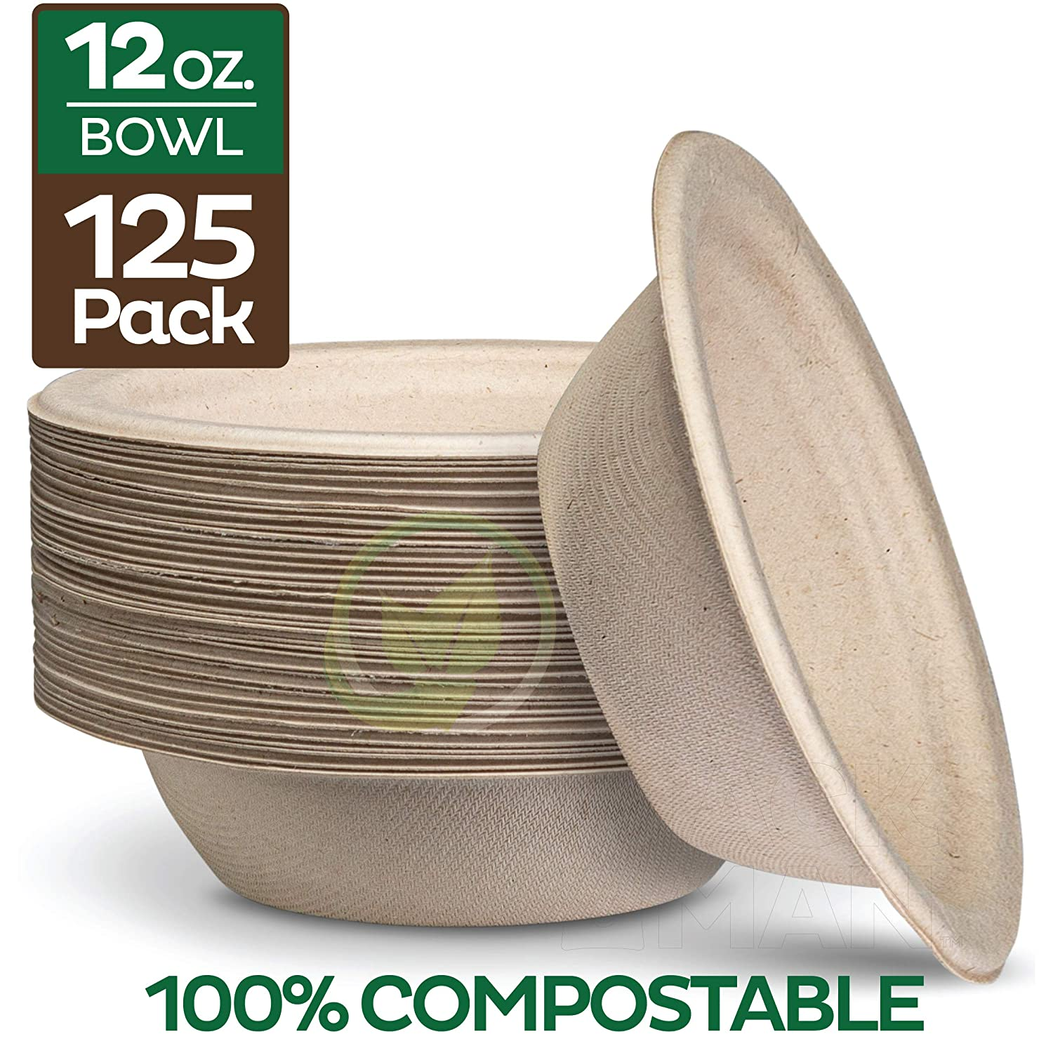 100% Compostable 12 oz. Paper Bowls [125-Pack] Heavy-Duty Quality Natural Disposable Bagasse, Eco-Friendly Biodegradable Made of Sugar Cane Fibers 81iNIQ3wqKL