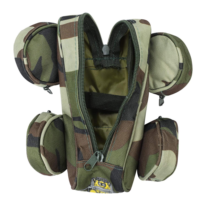 mimetico per bambini e ragazzi 19.5 x 13 x 9.5 cm per bambini Camo Grau LxBxH con 5 scomparti Astuccio portapenne per bambini