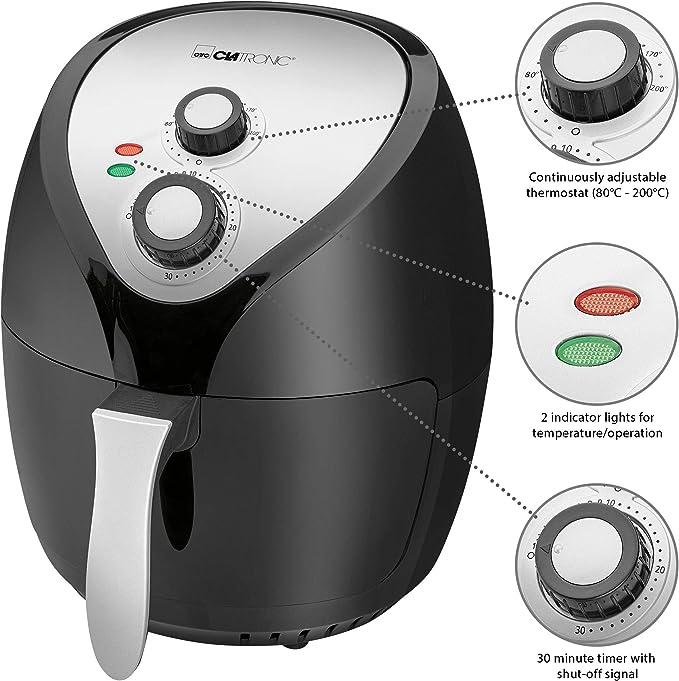 Clatronic FR 3699 H Freidora Sin Aceite por Aire Caliente, Termostato y Temporizador, 1400 W, Negro/Acero: Amazon.es: Hogar