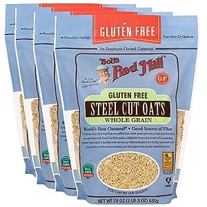 Bob's Red Mill Gluten Free Steel Cut Oats, 24 Ounce (Pack of 4)
