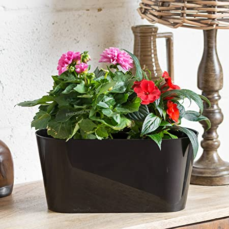 Set of 2 Red Oval Indoor Plant Pot Covers Planters Herb Troughs Windowsill Boxes