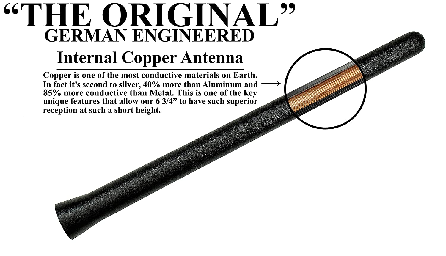 1982-2004 AntennaMastsRus German Engineered The Original 6 3//4 Inch is Compatible with Chevrolet S10 - Short Rubber Antenna Internal Copper Coil Premium Reception