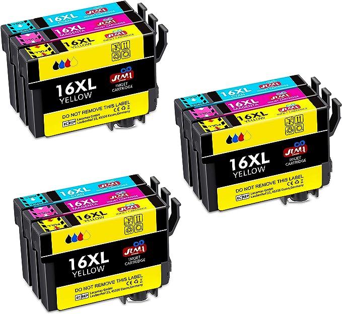 JIMIGO 16XL Alta Capacidad Cartuchos de Tinta para Epson 16 ...