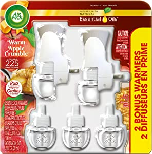 Air Wick Holiday Scented Oil Kit (2 Warmers + 5 Refills), Warm Apple Crumble, Air Freshener