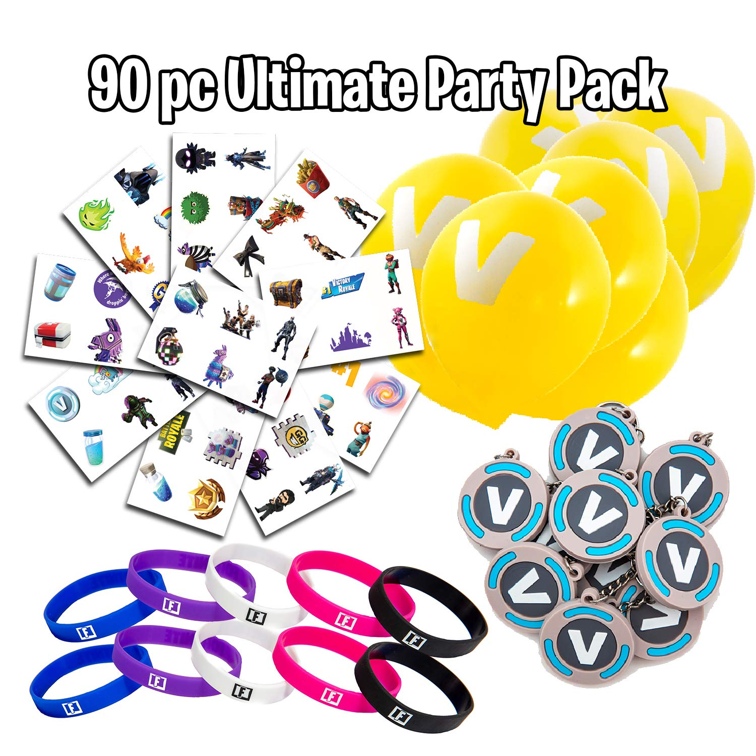 Video Game Party Supplies – Battle Royale Party Favor Set – Includes Tattoo Sheets, Balloons, Silicone Bands, V Key Chains – Ideal for Kids' Birthday Parties, Sleepovers