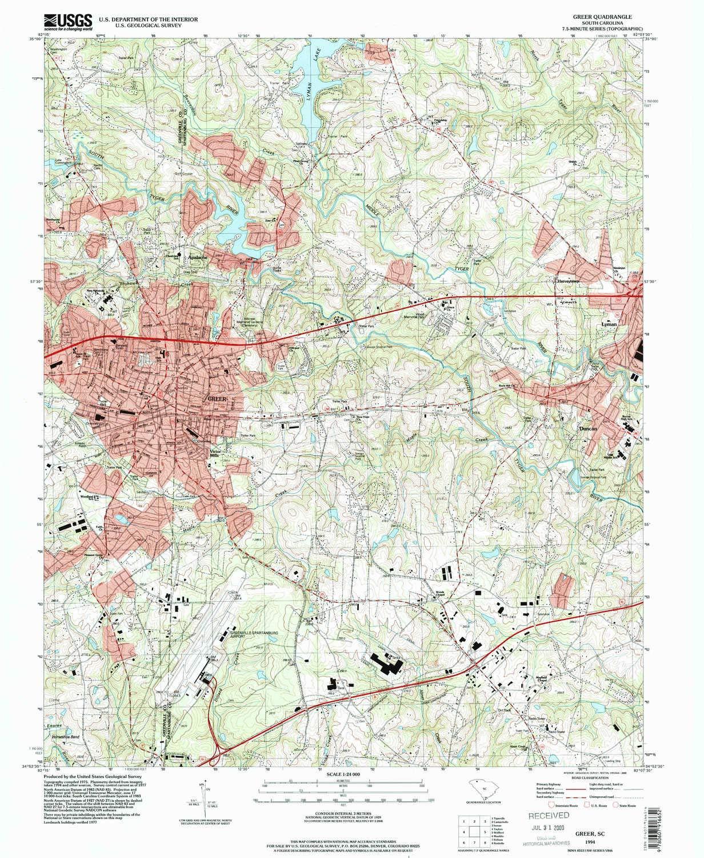 Amazon Com Yellowmaps Greer Sc Topo Map 1 24000 Scale 7 5 X 7 5