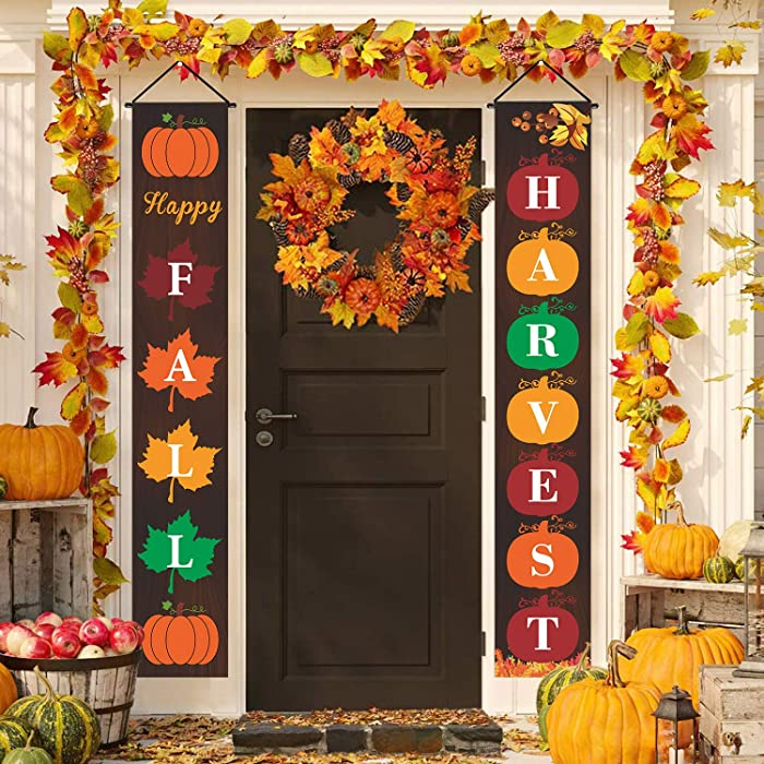 Fall Porch Sign Outdoor Fall Decorations Welcome Sign Happy Fall Harvest Porch Banner Fall Hanging Flag Sign Autumn Door Sign Pumpkin Maple Leaves Thanksgiving Decor for Home Front Door Yard Farmhouse