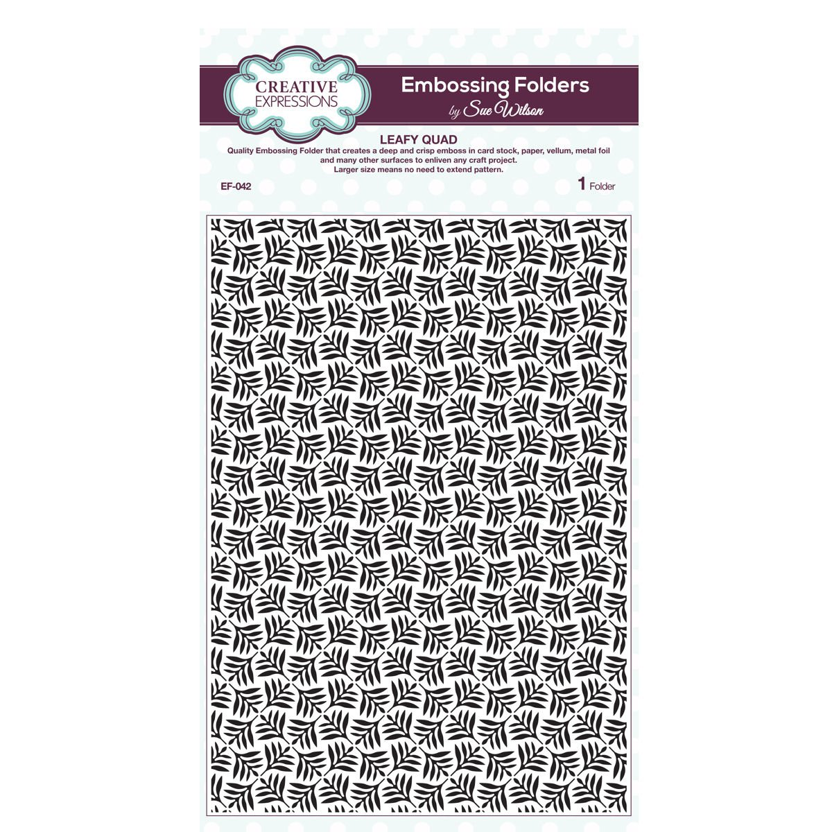Creative Expressions EF-042 Sue Wilson Embossing Folder - Leafy Quad by Sue Wilson