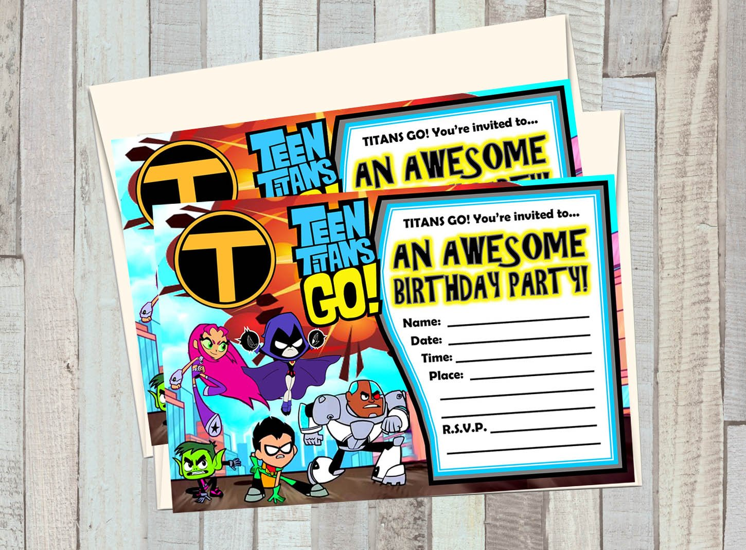 12 TEEN TITANS GO Birthday Invitations (12 5x7in Cards, 12 matching white envelopes)