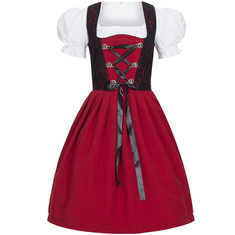 Marke Sch/ürze B/üstenhebe BH Push-Up Trachtenkleid schwarz gr/ün Dirndlbluse Gaudi-Leathers Dirndl Set 4 TLG