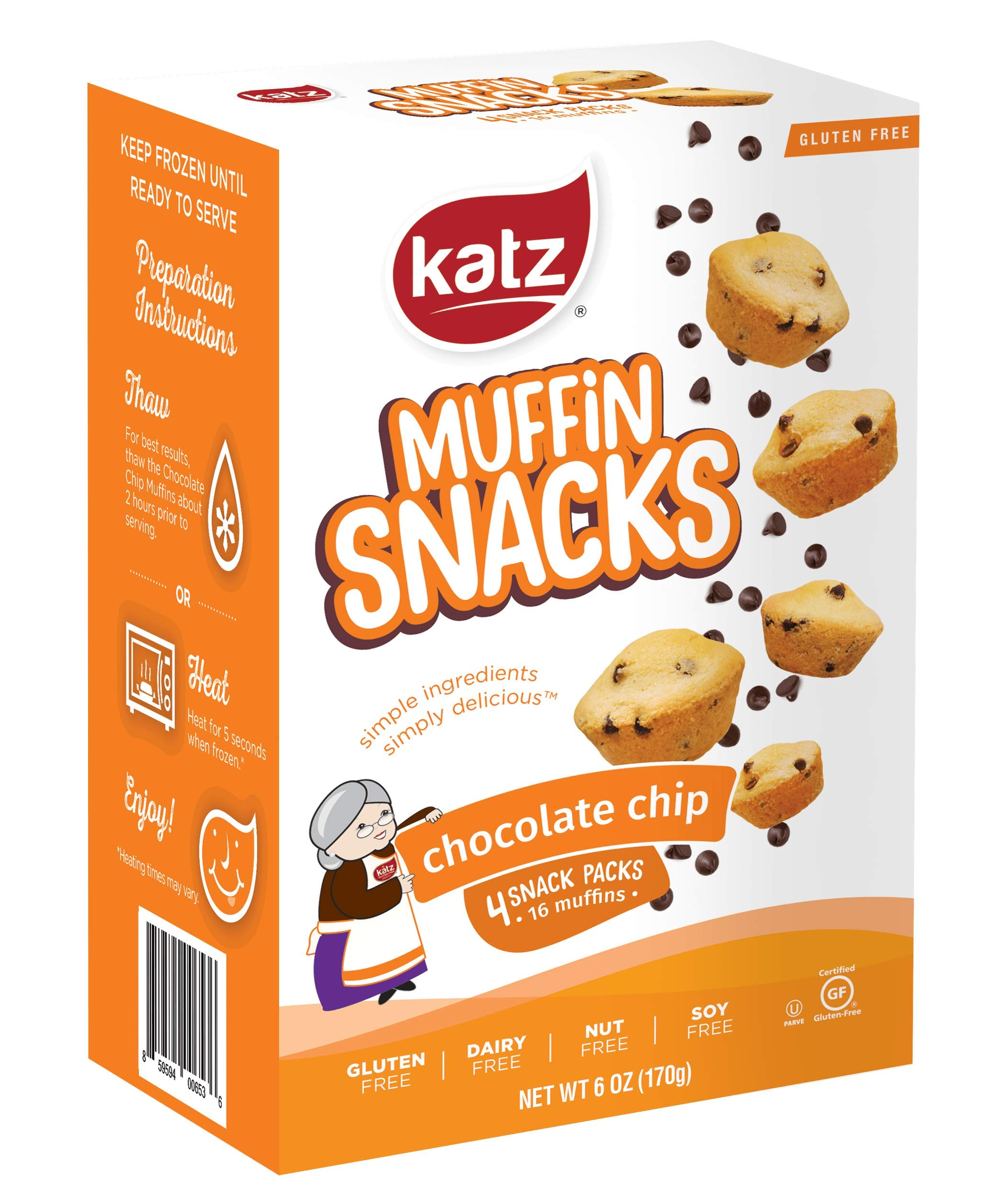 Katz Gluten Free Chocolate Chip Muffin Snacks | Dairy, Nut, Soy and Gluten Free | Kosher (3 Packs, 6 Ounce Each) by Katz Gluten Free