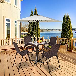 Tangkula 5 Pcs Patio Furniture Set Square Bar Glass Top Table and 4 Folding Chairs Wicker Outdoor