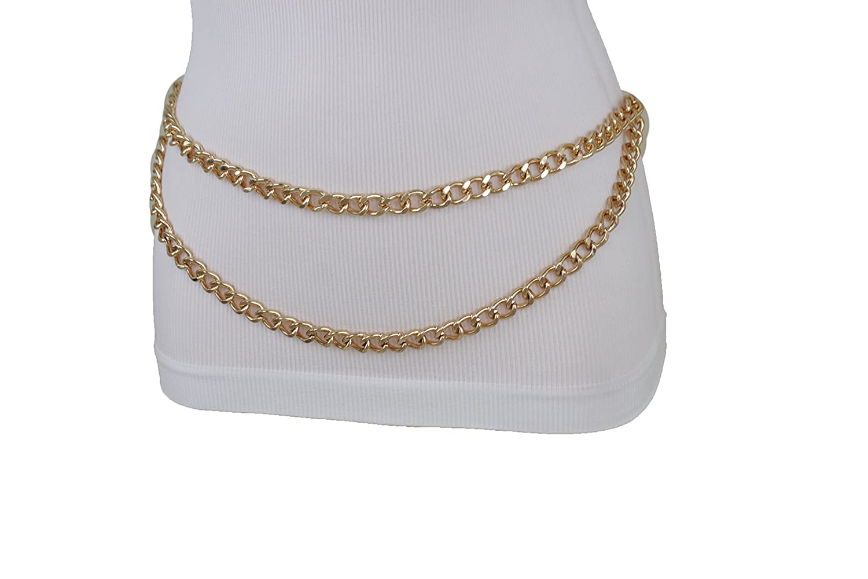 TFJ Women Fashion Belt Hip High Waist Gold Metal Chunky Chain Link Dressy Size XS S M