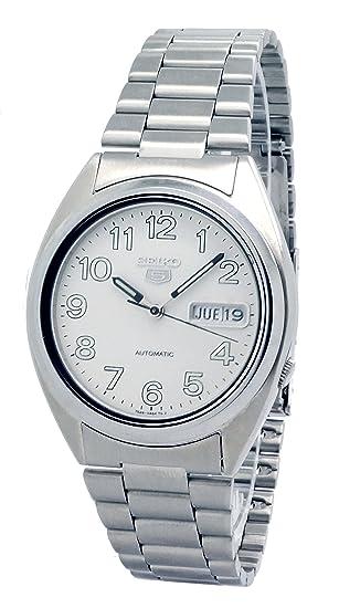 Seiko{5} reloj de pulsera para hombre de acero inoxidable con esfera de colour blanco y de funcionamiento automático: Amazon.es: Electrónica