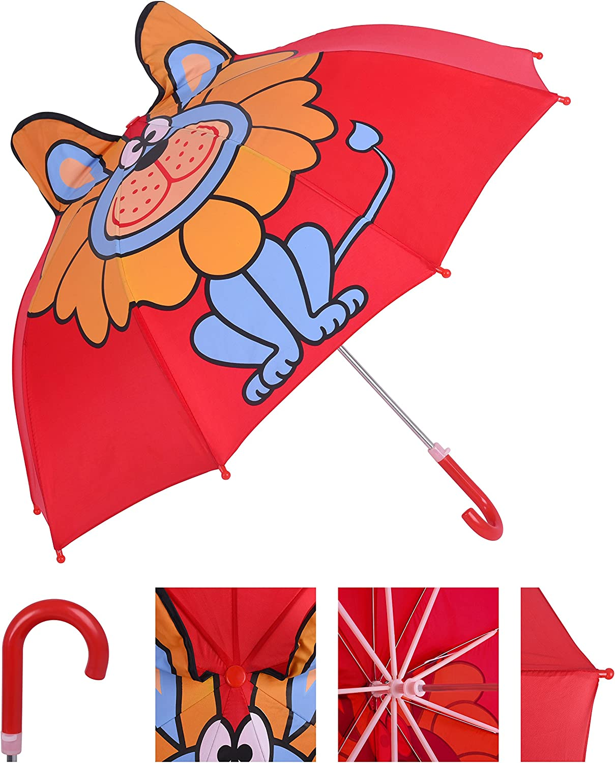 Red Years Old Rainbrace Kids Building Blocks Animal Theme Building Toys Lion with 3D Ears for Toddlers Age 3