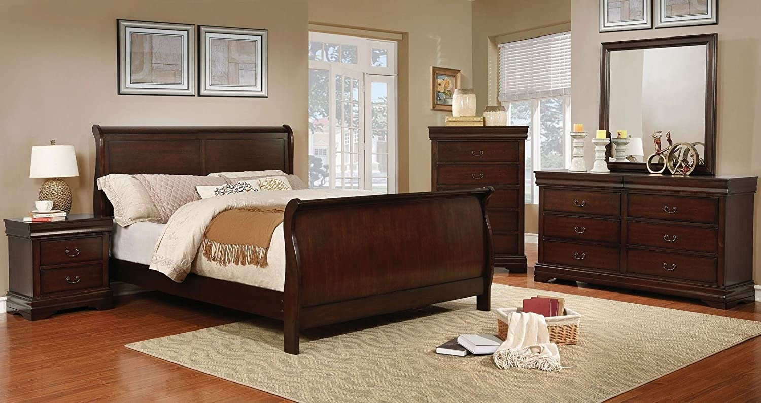 Amazon Com Eugenia Collection Eastern King Size Sleigh Bed Brown