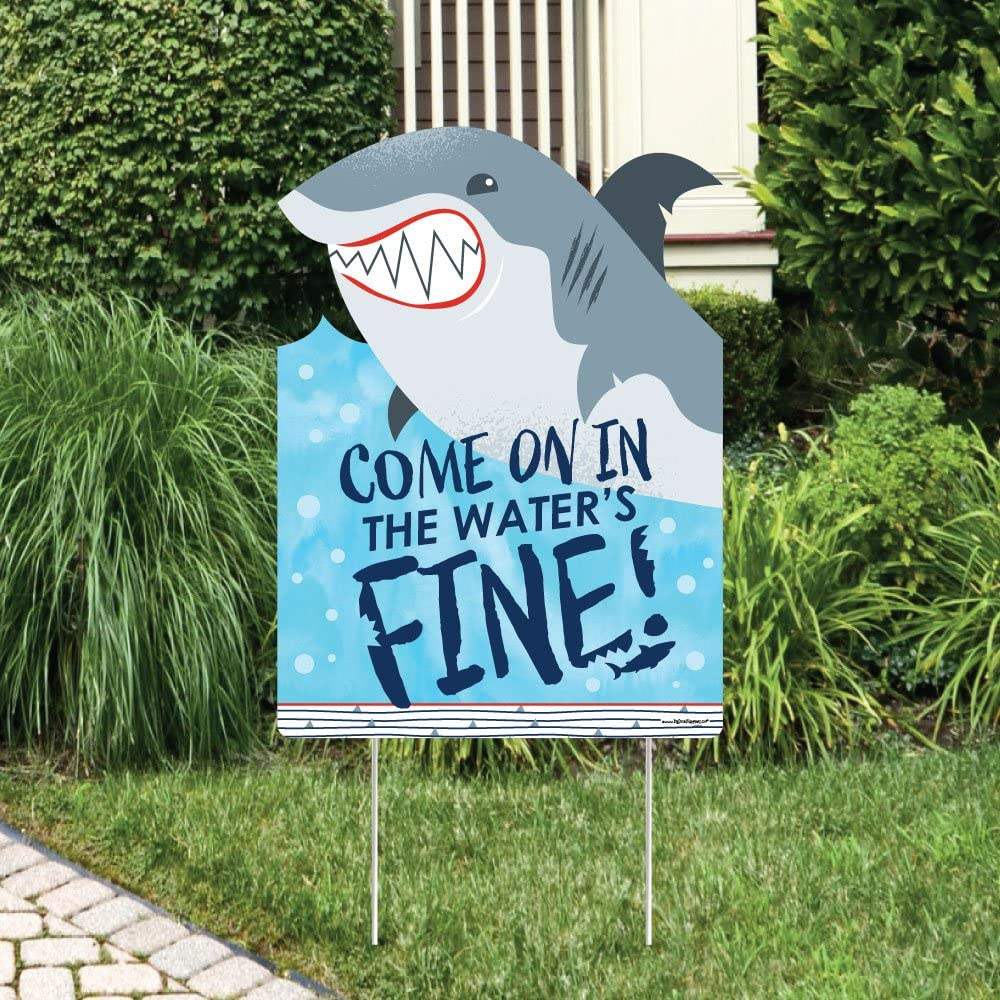 Big Dot of Happiness Shark Zone - Party Decorations - Jawsome Shark Viewing Week Party or Birthday Party Welcome Yard Sign