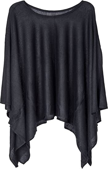 d0005c3f2 styleBREAKER fine-Knit Poncho Lightweight and Plain Colours, Round Neck,  Ladies 08010047, Color:Black: Amazon.co.uk: Clothing